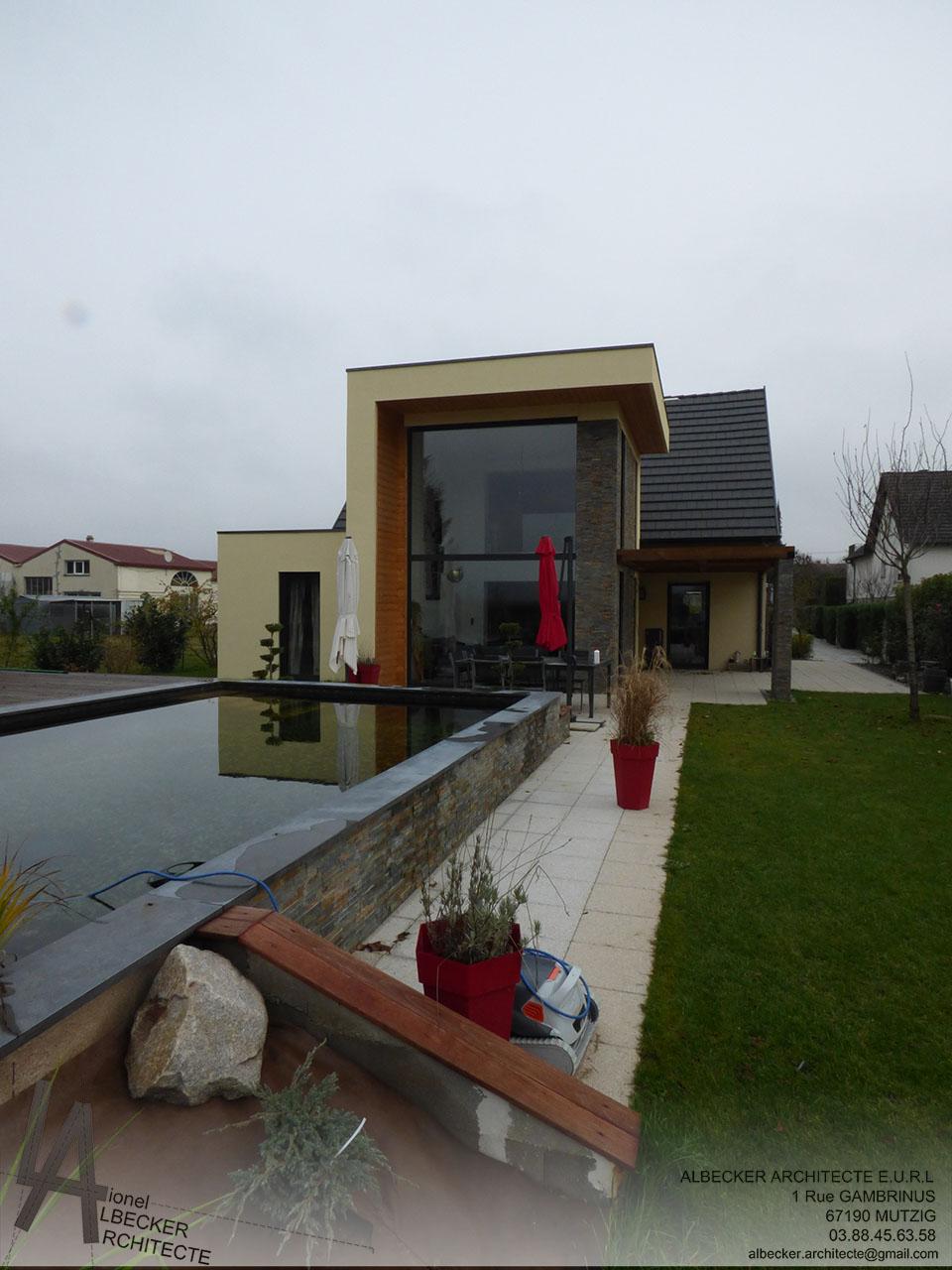 Architecte Bas Rhin extension contemporaine d'une maison individuelle à